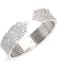 Adriana Orsini   Greta Hinged Crystal Cuff Bracelet   Lyst