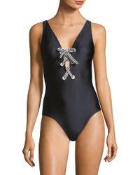 Shoshanna - One-piece Shiny Lace-up Swimsuit - Lyst