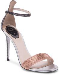 Rene Caovilla - Satin Ankle Strap Stiletto Pumps - Lyst