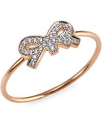 Ginette NY - Tiny Diamond Bow Ring - Lyst