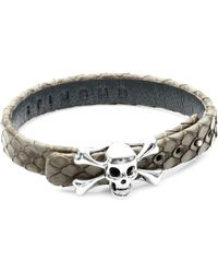 Stinghd | Silver Skull And Crossbones Leather Bracelet | Lyst