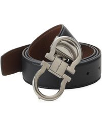 Ferragamo - Double Gancini Leather Dress Belt - Lyst