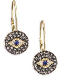 Sydney Evan - Diamond Medallion Eye Drop Earrings - Lyst
