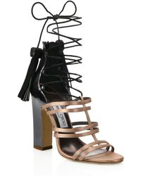 ce4f7db6f615 Jimmy Choo - Diamond Tassel Lace-up Sandals - Lyst