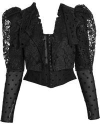 56c48213521 Dolce   Gabbana - Puff Sleeve Lace Corset Jacket - Lyst