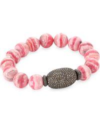 Bavna | Pave Diamond Pink Agate Bead Bracelet | Lyst