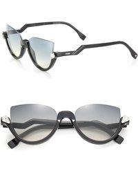 851aa1cc5eb0 Fendi - Women s 52mm Embellished Semi-rimless Acetate Sunglasses - Shiny  Black - Lyst