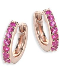 Astley Clarke - Mini Halo Pink Sapphire & 14k Rose Gold Hoop Earrings - Lyst
