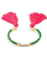 Aurelie Bidermann - Green Jasper Beaded Tassel Bracelet - Lyst