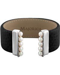Majorica - New Isla 5mm White Pearl And Leather Bangle - Lyst