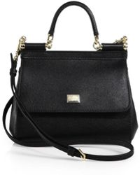 ae62a76fbb6c Lyst - Dolce   Gabbana Sicily Micro Textured Leather Top-handle ...