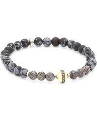 Tateossian - Stonehenge Diamond, Jasper & Silver Beaded Bracelet - Lyst