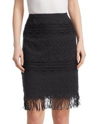 Nanette Lepore - High-rise Cotton Pencil Skirt - Lyst