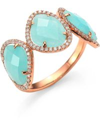 Meira T | Light Amazonite, Diamond & 14k Rose Gold Three Stone Ring | Lyst