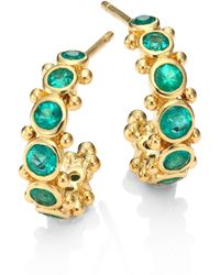 Temple St. Clair - Eternity Emerald & 18k Yellow Gold Hoop Earrings/0.4 - Lyst
