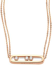 Messika - Move Diamond & 18k Rose Gold Necklace - Lyst