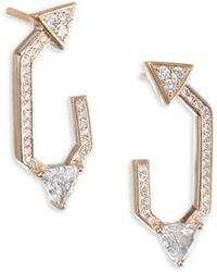 Nikos Koulis - Diamond 18k Yellow Gold V Earrings - Lyst