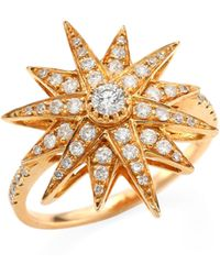SHAY - Diamond & 18k Rose Gold Starbust Ring - Lyst