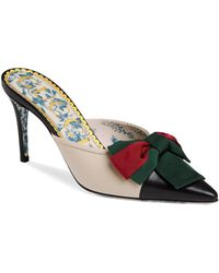Gucci - Leather Web Bow Mid-heel Slides - Lyst