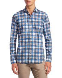Saks Fifth Avenue - Collection Watercolor Plaid Cotton Button-down Shirt - Lyst