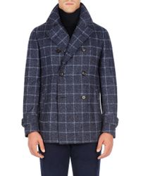 Isaia - Windowpane Double-breasted Coat - Lyst