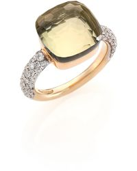Pomellato - Nudo Prasiolite, Diamond & 18k Rose Gold Ring - Lyst