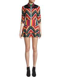 Alice + Olivia - Hazeline Rainbow Chevron Stripe Mini A-line Shirt Dress - Lyst