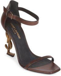 Saint Laurent - Opyum Ankle-strap Leather Sandals - Lyst