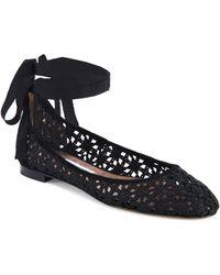 Tabitha Simmons - Daria Daisy Suede-trim Crochet Ankle-wrap Flats - Lyst