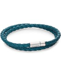 Tateossian - Scoubidou Leather & Sterling Silver Braided Double-wrap Bracelet - Lyst