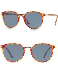 cfd4ce8372275 Persol - Men s Po3210s Oval Acetate Keyhole Sunglasses - Solid Lenses - Lyst