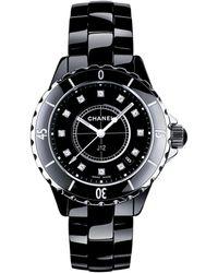 Chanel - J12 Diamond, Ceramic & Stainless Steel Bracelet Watch - Lyst