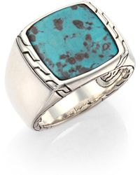 John Hardy - Batu Classic Chain Turquoise & Sterling Silver Signet Ring - Lyst