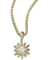 David Yurman - Diamond & 18k Gold Starburst Pendant Necklace - Lyst