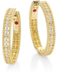Roberto Coin - Symphony Diamond & 18k Yellow Gold Hoop Earrings/0.75 - Lyst