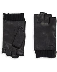 John Varvatos - Leather Zip Gloves - Lyst