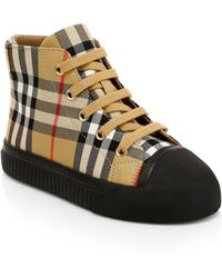 Burberry - Kid's Belford High-top Cotton & Leather Sneakers - Lyst