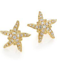 Temple St. Clair - Diamond & 18k Yellow Gold Sea Star Stud Earrings - Lyst