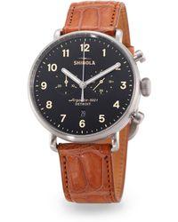 Shinola - Canfield Chronograph Alligator Strap Watch - Lyst