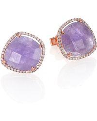 Meira T - Tanzanite, Mother-of-pearl, Diamond & 14k Rose Gold Doublet Earrings - Lyst