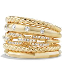 David Yurman - Stax Wide Ring With Diamonds In 18k Yellow Gold - Lyst