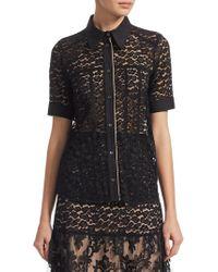 N°21 - Short-sleeve Sheer Lace Shirt - Lyst