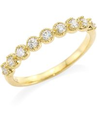 Hearts On Fire - Diamond Bar Single Prong Milgrain Band Ring - Lyst
