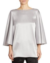 St. John - Liquid Satin Cape Top - Lyst