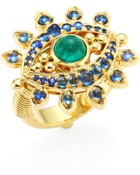 Temple St. Clair - Evil Eye Lash Diamond, Blue Sapphire, Emerald & 18k Yellow Gold Ring - Lyst