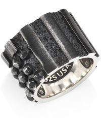 King Baby Studio - Men's Sterling Silver Riveted Flag Ring - Silver - Lyst