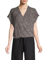 Eileen Fisher - Silk-blend Cap Sleeve Surplice Top - Lyst