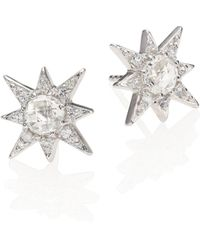 Anzie - Aztec Star White Topaz & White Sapphire Stud Earrings - Lyst