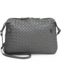 368ce0ad40 Bottega Veneta - Women s Small Pillow Intrecciato Leather Crossbody Bag -  Black - Lyst