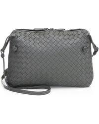 1c86dc8138 Lyst - Bottega Veneta Pillow Intrecciato Leather Crossbody Bag in Blue